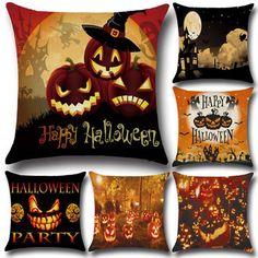 $3.88 45x45cm 6 Pattern Halloween Pumpkin Fashion Cotton Linen Pillow Case Home Sofa Cushion Decor Gift