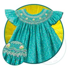 Turquoise Floral Dotty Angel Sleeve Smocked Bishop 13SS 4426A