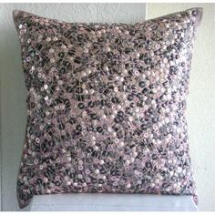 Fairy Land - Throw Pillow Covers - 16x16 Inches Silk Pillow Cover with Textured Sequins