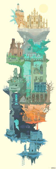Мир Dark Souls в 1 картинке кликабельно  dark souls, RPG, пикабу