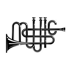 This is a typography example. I think this is a good example because the reader can clearly see the word music. I like how the word is spelled out by a trumpet. A reader who knew nothing about trumpets or music good easily know this was a musical instrument.