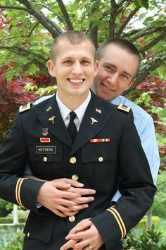 CONGRATULATIONS to Marshall and Zachary     LT Nethers is a 4 year Army reservist. He currently serves as an Army Nurse and teaches full-time at a private university. Marshall is a travel agent. They were married on 4/28/2012 in Washington DC. Zachary is believed to be the first gay soldier to be married in dress blues. — with Zachary Evans-Nethers