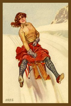 Woman on Sled 1925. Quilt Block printed on cotton. Ready to sew.  Single 4x6 block $4.95. Set of 4 blocks with free wall hanging pattern $17.95