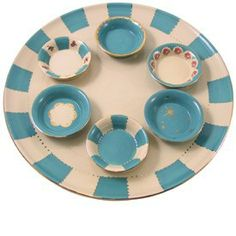 Turquoise Floral Seder Plate by Studio Vons Product - The Jewish Museum Shops