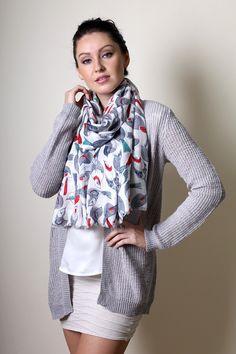 Anika Dali Women's Tweet Tweet Birds Soft Fashion Scarf - www.AnikaDali.com (Fashion Scarves. Shoulder Wraps. Evening Shawls. Unique Gift Ideas. Holiday Gifts. For Her.)