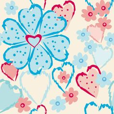 Set of Drawing Seamless Flower Pattern vector 04