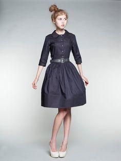 vintage inspired navy dress