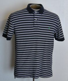 Ralph Lauren Polo Shirt Mens Blue Striped 100% Cotton Short Sleeve #RalphLaurenPolo #PoloRugby free shipping auction starting at $12.99