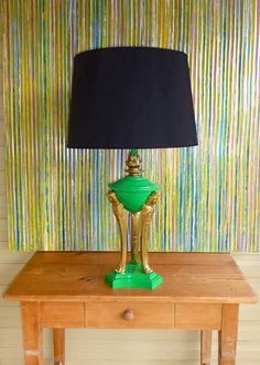 Vintage Art Deco, Hollywood Regency GREEN Lacquered Greek or Egyptian StatueTable Lamp.  via Etsy.