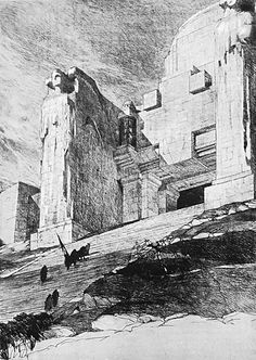 """tecla 9 - A. Griffini, P. Mezzanotte, Concorso per il Monumento al Fante, 1922, secondo progetto motto """"SGG"""", veduta prospettica del tempio (da R. Papini, Il secondo concorso per il Monumento al Fante, in """"Emporium"""", vol. LV, n. 325, gennaio 1922, p. 53)."""