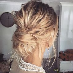This gorgeous twisted messy bun is soooo beautiful @kykhair. #hair #weddinghair #hairup #updo #twistedhair #boho #bohohair #weddinghairstyle #hairideas