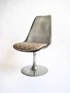 Smoked Lucite tulip dining chair with chrome pedestal base