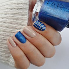 Beige and blue go together in a play of textures and simple nail art in this design. Here are products that can help you recreate this look.