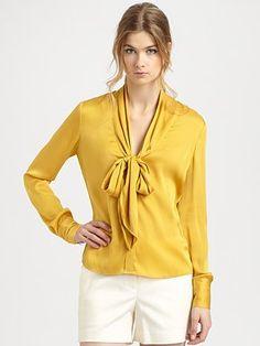 Rachel Zoe Natalie Plunge Tie Collar Blouse