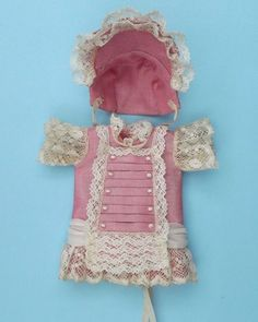 Antique French style outfit, silk doll dress for mignonette, antique laces