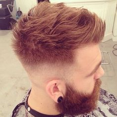 red fauxhawk with beard for men