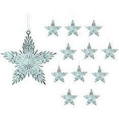 Star Christmas Ornaments - Pack of 12 iridescent Star Shaped Xmas Ornaments - Star Decorations - Hanging Stars - Shatterproof Ornaments White Christmas Ornaments, Christmas Tree, Star Decorations, Christmas Decorations, Hanging Stars, Wings Design, Hanging Ornaments, Star Shape, Holiday Parties