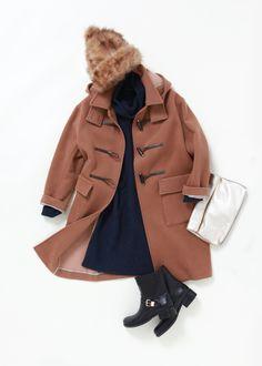 *martinique* #duffel_coat #knit_one-piece_dress #clutch_bag #short_boots #camel #navy #black #2014-2015AW