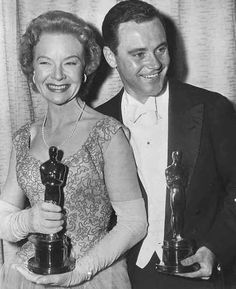 """1956 Oscars: Jo Van Fleet and Jack Lemmon, Best Supporting Actress & Actor 1955 for """"East of Eden"""" and """"Mister Roberts"""", respectively."""