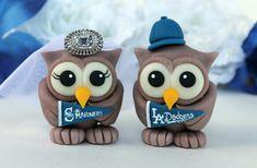 Sport wedding owl cake topper customizable love by PerlillaPets