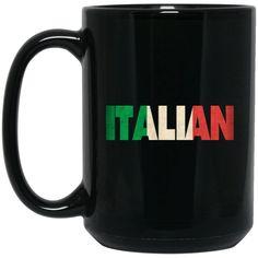 Cool Italian Flag Gift Large Black Mug