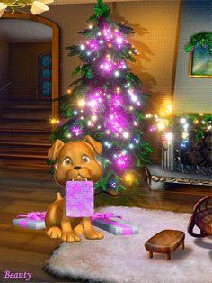 Animated Christmas Puppy tree animated dog puppy gif christmas christmas gifs christmas pics
