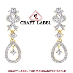 "14K Gold Round Brilliant Cut Dancing Diamond Drop Dangle Earrings ""Mother\'s Day Gift"". Starting at $1"