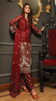 Deepsy Gulbano 7 Georgette With Heavy Embroidery Suits Red Trousers, Desi Clothes, Embroidery Suits, Indian Wear, Designer Dresses, Kids Outfits, Fashion Dresses, Punjabi Suits, Salwar Suits