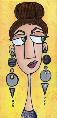 Eloise Enjoys Elegant Earrings, x acrylic paint, paper, ink on canvas Here is the inspiration sketch for this fun painting: . Abstract Face Art, Wal Art, Frida Art, Indian Art Paintings, Owl Paintings, Cubism Art, Diy Canvas Art, Art Drawings Sketches, Whimsical Art