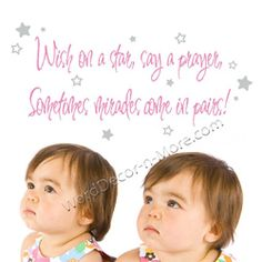 WISH ON A STAR Nursery Wall Quote for Twins    Def a Miracle!!  should totally go on my wall