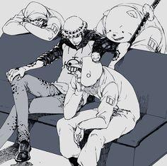 Tags: Anime, Bear, Sunglasses, ONE PIECE, Four Males, Trafalgar Law, Bepo