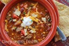 Seven can taco soup is such a quick and easy soup to throw together, with a well…