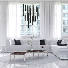 A 18-light linear led chandelier from the Santana collection
