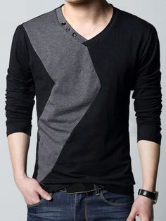 offers high quality V-Neck Button Collar Men's Sweater unit price of. offers high quality V-Neck Button Collar Men's Sweater unit price of. Pringle of Scotland Casual T Shirts, Cool Shirts, Men Casual, Men's Shirts, John Varvatos, T Shirt Diy, Shirt Refashion, Mens Clothing Styles, V Neck T Shirt