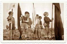 Children with flags, Kibbutz Hazorea