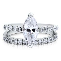 Sterling Silver Marquise CZ Solitaire Ring Set 2.22 ct.tw
