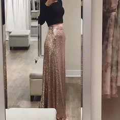 Elegant Rose Gold Sequin Bridesmaids Skirt by Jenny Yoo #rosegold #sequin #skirt