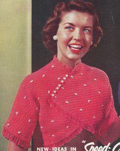 Vintage Crochet Pattern Cropped Bolero Shorty Jacket