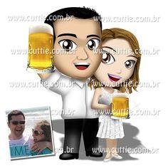 Caricatura para casamento - Noivos Juli e Marcão - noivinhos cuttie