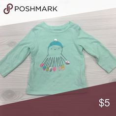 Cat & Jack Octopus Tee 12 mo long sleeve tee in really pretty mint green color with cute octopus print. Worn once, great condition. Cat & Jack  Shirts & Tops Tees - Long Sleeve