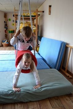 How to make your own bolster swing DIY Sensory SPD Active Play pinned by Gail Zahtz