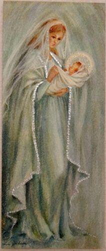 #1343 50s Hallmark Glittered Mary & Jesus-Vintage Christmas Greeting Card