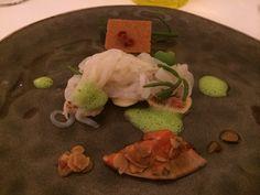 Calamaretti spillo con fichi, n'duja e fegato di pescatrice. Pascucci al Porticciolo. Fiumicino. Italy.  - See more at: http://www.lazioterradisapori.it/blog/pascucci-porticciolo-un-eccellente-ristorante-di-pesce-a-fiumicino/#sthash.ljLjZIIs.dpuf
