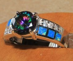 fire opal Cz topaz ring 6.5 7.5 gemstone silver jewelry engagement wedding band  #Band