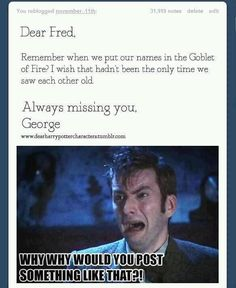 Harry Potter and Doctor Who, my two favorite fandoms 😂 RIP Fred😪 Harry Potter Love, Harry Potter Fandom, Harry Potter Memes, Harry Draco, Doctor Who, Scorpius And Rose, No Muggles, Bae, Yer A Wizard Harry