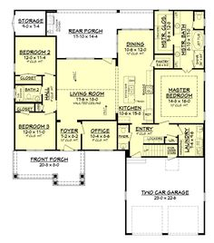 Gorgeous open floor plan of Craftsman house (142-1158: Floor Plan Main Level)