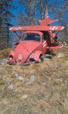 Red Baron Beetlecopter VW bug red baron crashed airplane German volkswagen