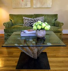 Tree trunk coffee table.