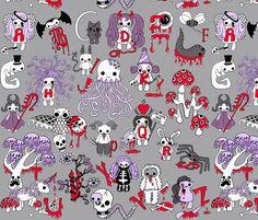 Creepy Cute Alphabet fabric by uzumakijo on Spoonflower - custom fabric