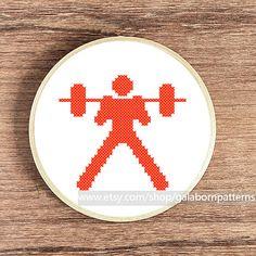 Modern cross stitch - Counted cross stitch pattern PDF - Sport - Weightlifting